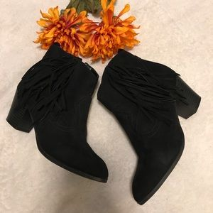 Express black fringed booties
